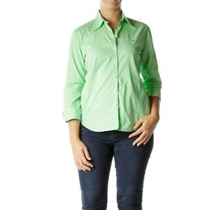 Lily Pulitzer green button down long sleeve check